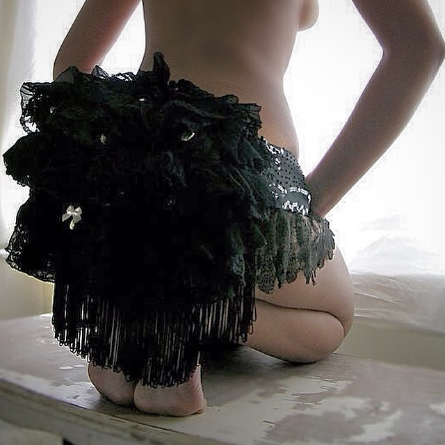 Black handmade vintage lace bustle - Wedding / bridal / honeymoon lingerie