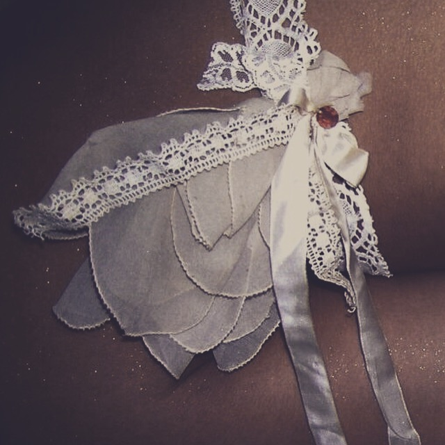 Lace chiffon garter for wedding day outfit handmade and bespoke