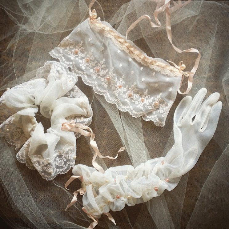Garter, Glove and Veil blindfold lingerie wedding / honeymoon set bespoke and handmade.
