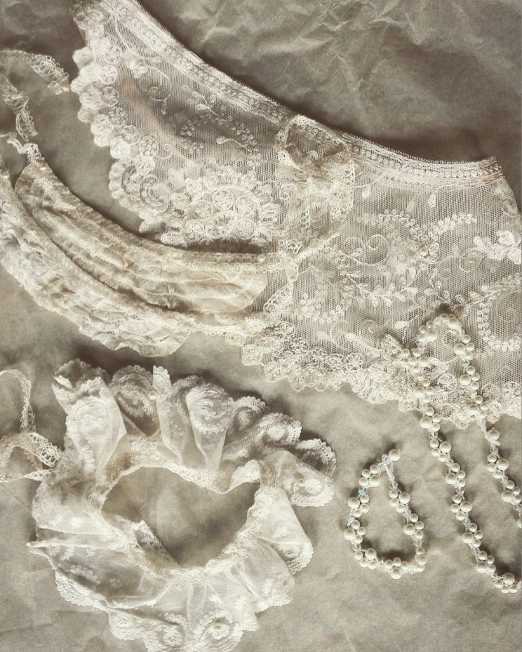 Wedding/honeymoon lingerie set lace and pearl garter, cuffs, skirt