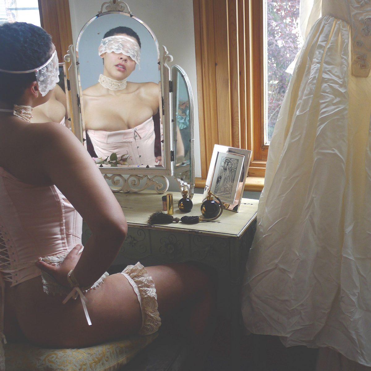 Wedding Lace Lingerie set: wedding garter, wedding veil blindfold, choker, cuffs